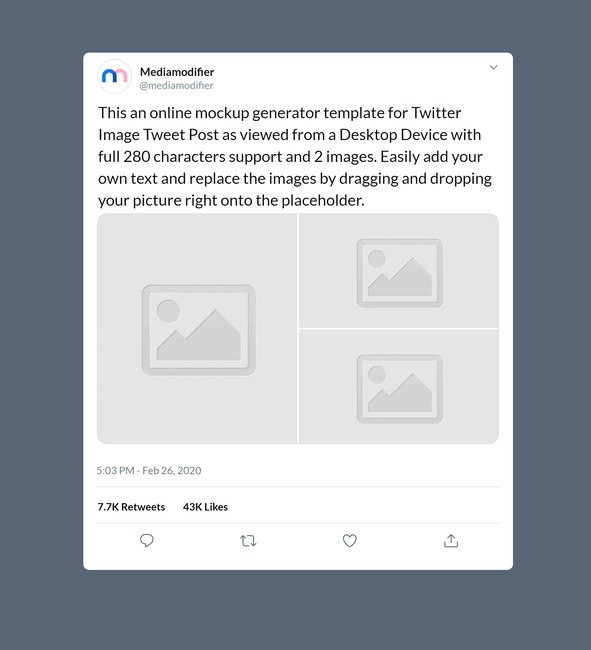 Twitter Image Post Mockup Generator (3 Images)