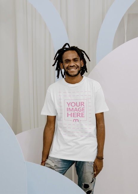 T-Shirt Mockup With a Smiling Model preview image