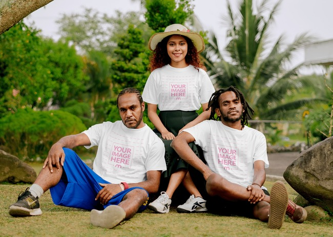 T-Shirt Mockup With a Smiling Woman Guarded by Two Men preview image