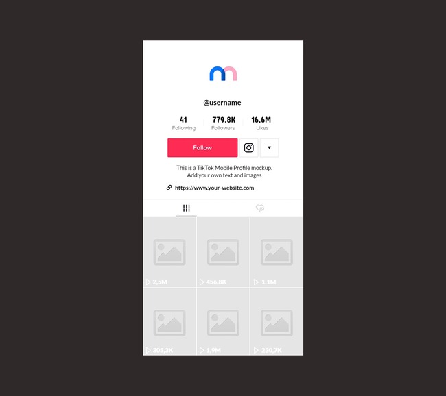 TikTok Mobile Profile Mockup (with View Count)