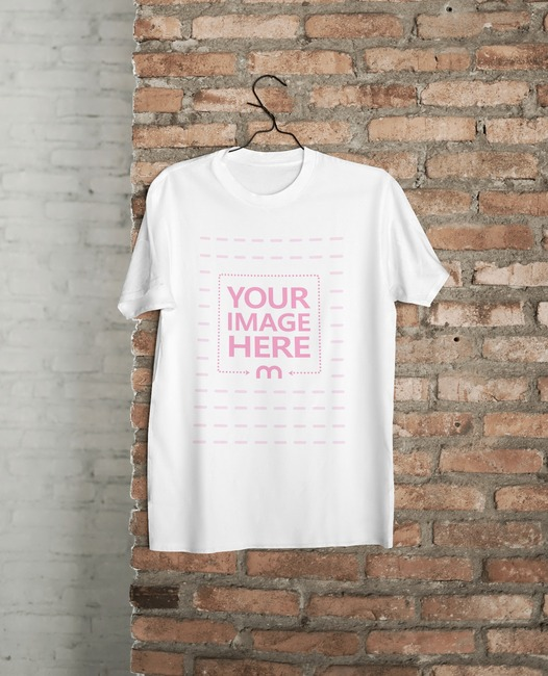 Shirt Mockup Hanging on a Brick Wall preview image