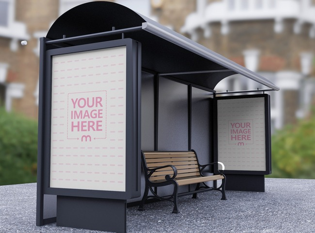 Poster Mockup on a Bus Stop preview image