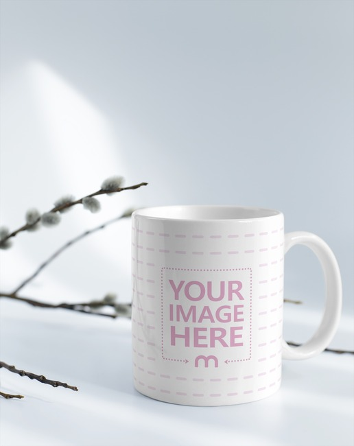 Mug with Branches on White Background Mockup preview image