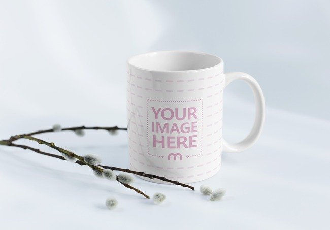Mug with Decorative Willow Branches Mockup preview image
