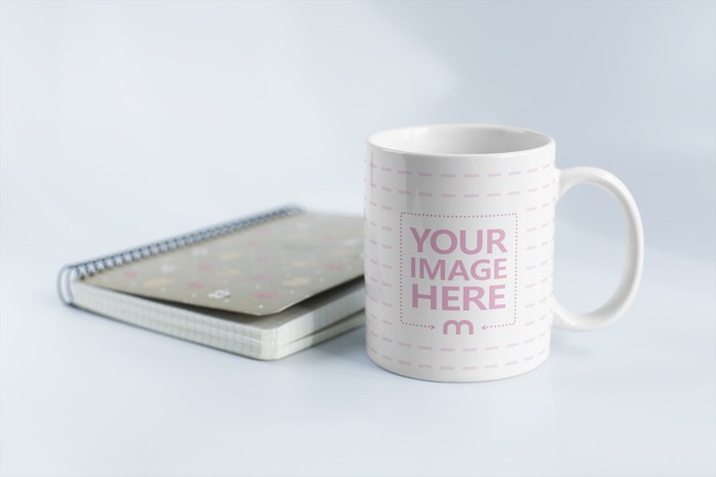 Coffee Mug and Notebook on White Background Mockup preview image
