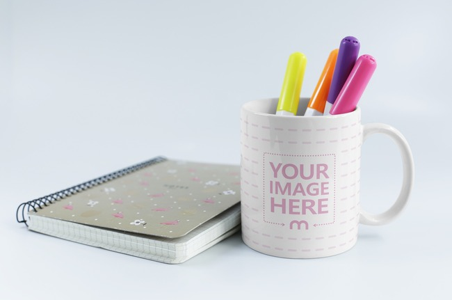 Notebook and Mug with Color Pens Mockup