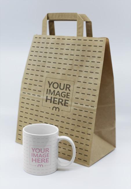 Coffee Mug with Large Paper Bag Mockup