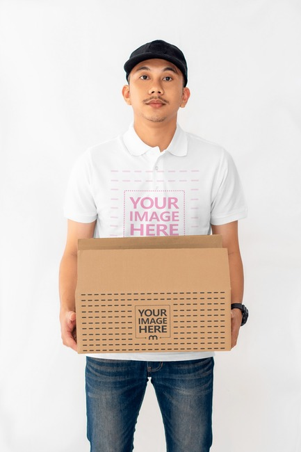 Box Mockup With a Man Holding a Box preview image