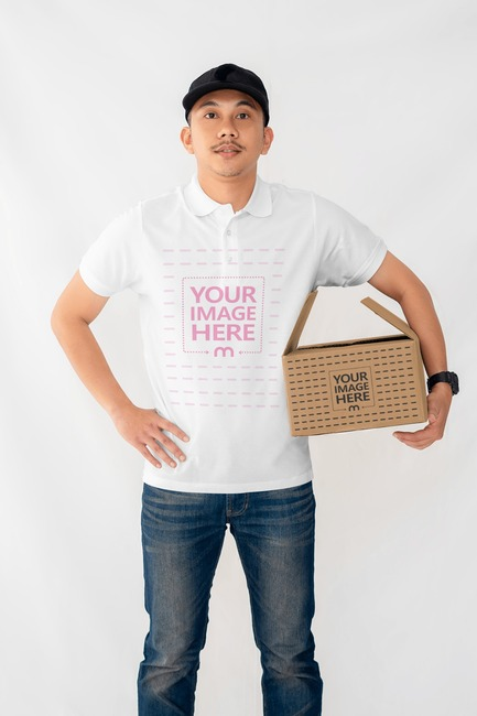 Box Mockup With a Man Holding a Box on His Arm preview image
