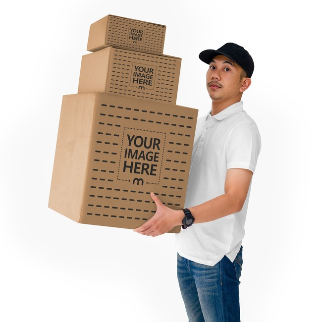 Box Mockup With Side View of a Man Holding Three Box preview image