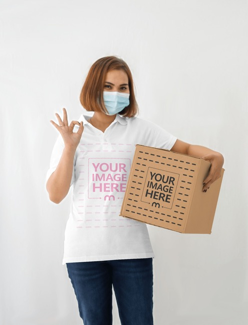 Box Mockup With a Woman Giving an ok Hand Sign preview image