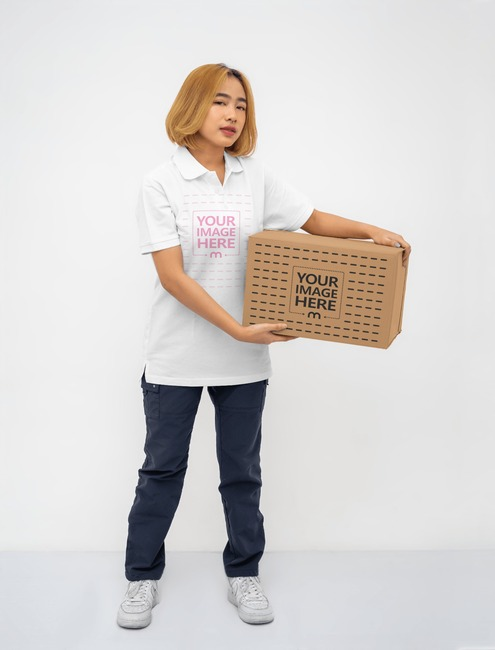 Box Mockup With a Woman Holding it preview image