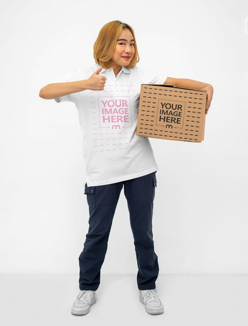 Box Mockup With a Smiling Woman Holding it preview image