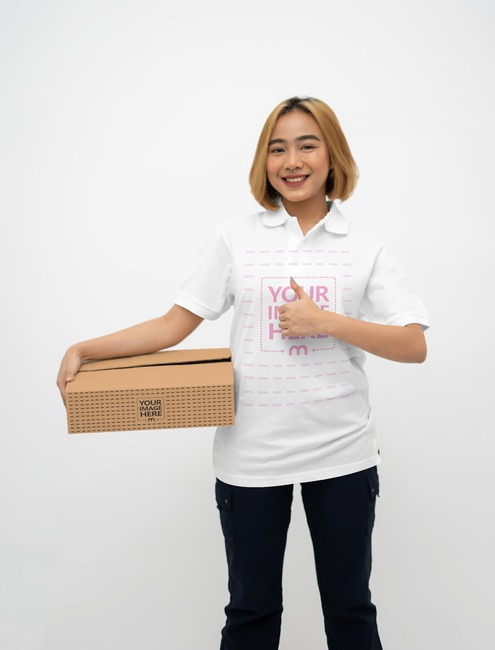 Box Mockup With a Woman Holding a Box on His Arm preview image