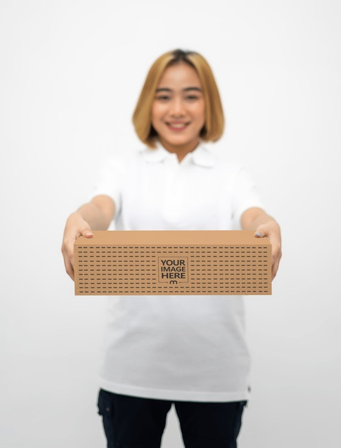 Box Mockup With a Woman Giving a Box preview image