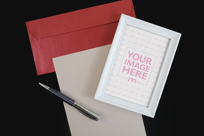 Blank Frame with Letter and Pen Mockup Generator preview image