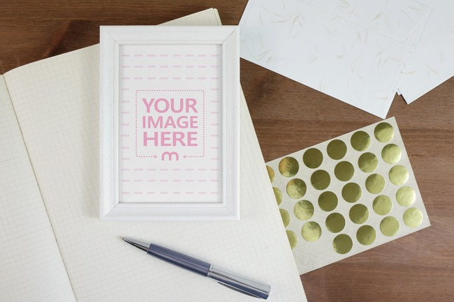 Picture Frame on Office Table Mockup preview image