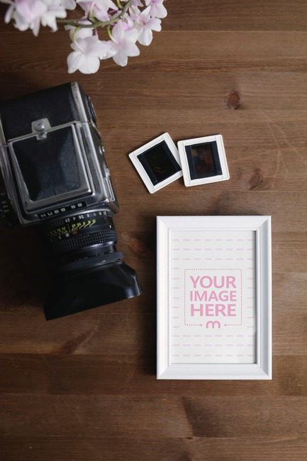 Photo Frame and Camera on Table Mockup Generator