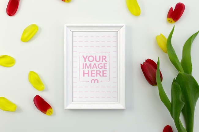 Picture Frame with Flower Petals Mockup preview image