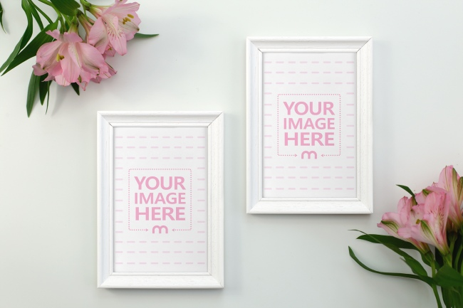 Picture Frames with Decorative Flowers Mockup