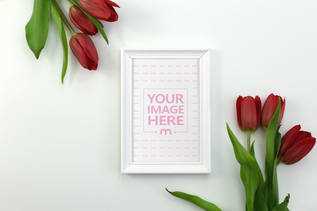 Wood Frame Surrounded by Flowers Mockup Generator preview image
