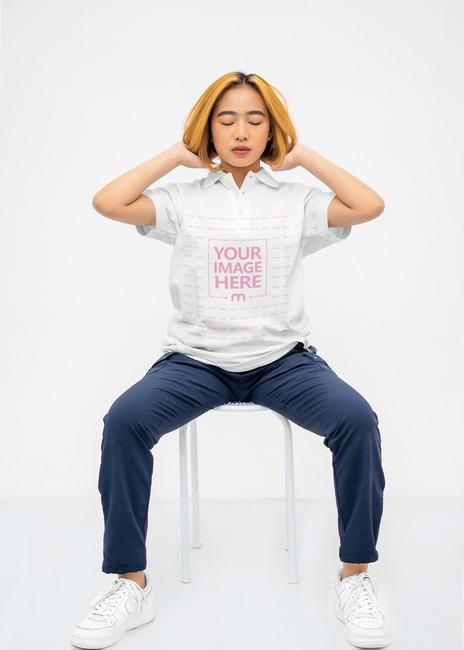 Polo Shirt Mockup With a Woman Sitting