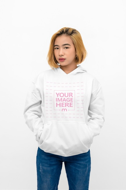 Hoodie Mockup With Close up Young Woman as the Model