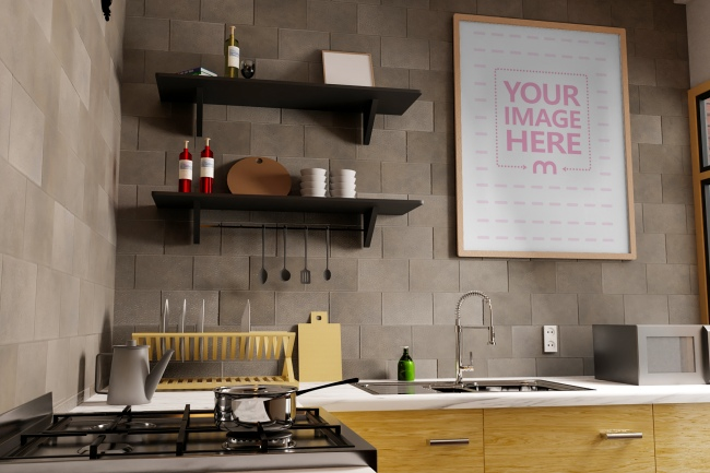 Side View of Portrait Canvas at a Kitchen Mockup