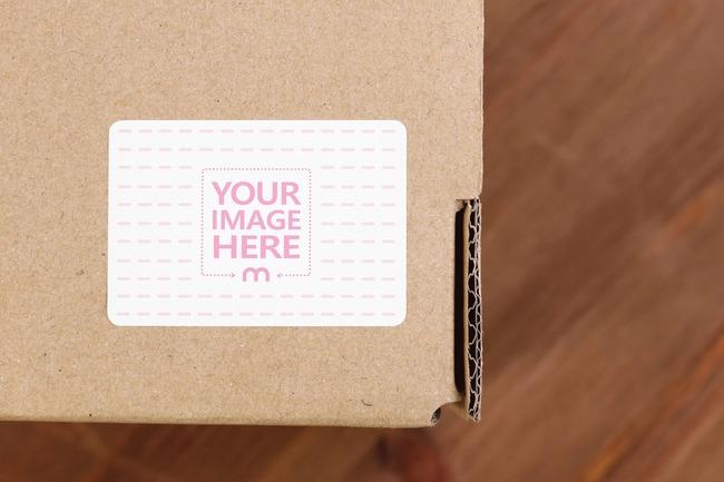 Cardboard Box Sticker Mockup preview image