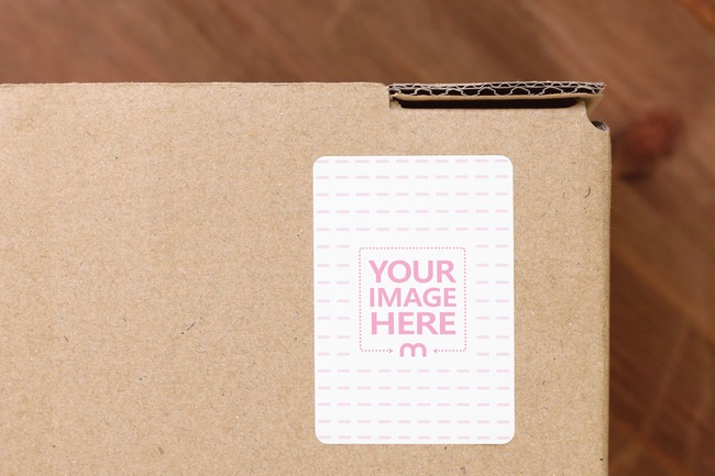Cardboard Box Portrait Sticker Mockup