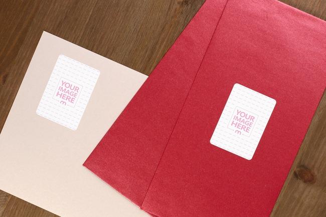 Red Envelope Portrait Stickers Mockup