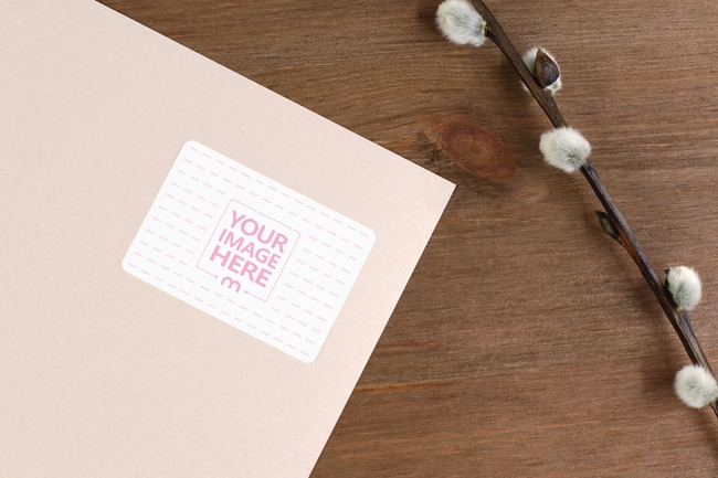 Paper Envelope with Willow Twig Mockup