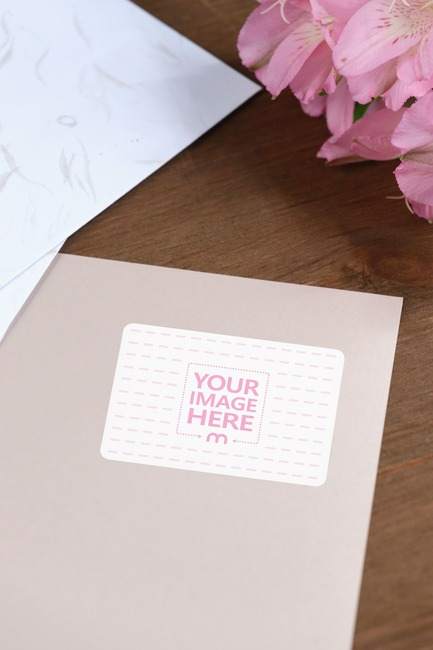 Envelope Sticker in a Decorated Scene Mockup