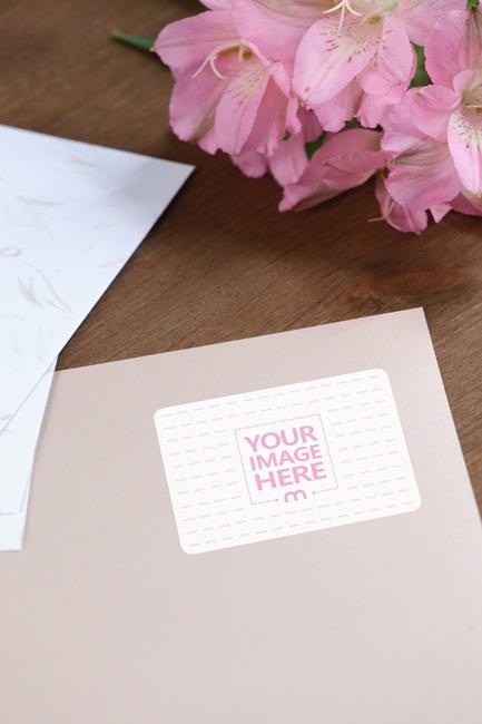 Envelope Label in a Decorated Scene Mockup