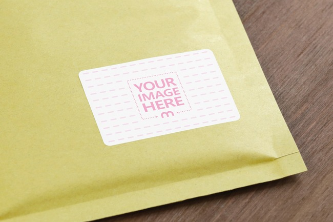 Padded Mailer Envelope Sticker Mockup Generator