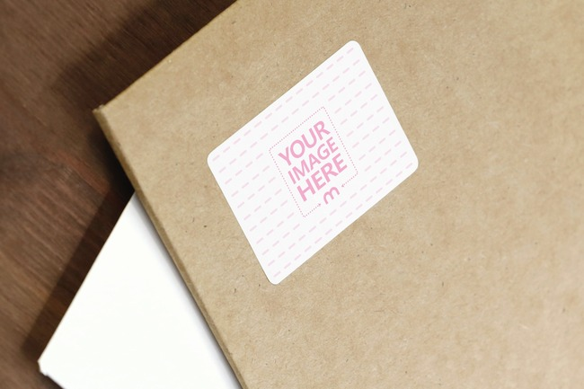 Cardboard Envelope Sticker Mockup