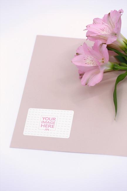 Envelope Sticker with Flower Mockup