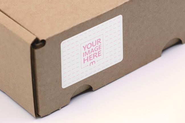 Cardboard Box Shipping Label Mockup
