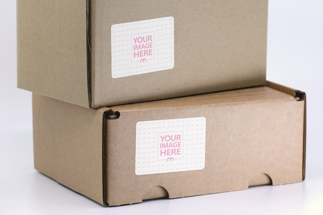 Stacked Cardboard Boxes Sticker Mockup