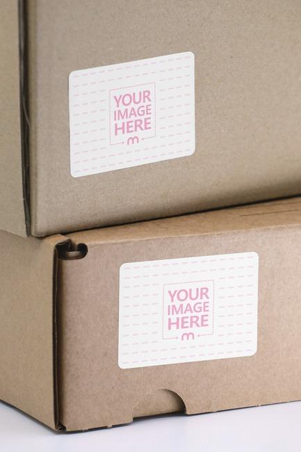 Stacked Cardboard Boxes Label Mockup