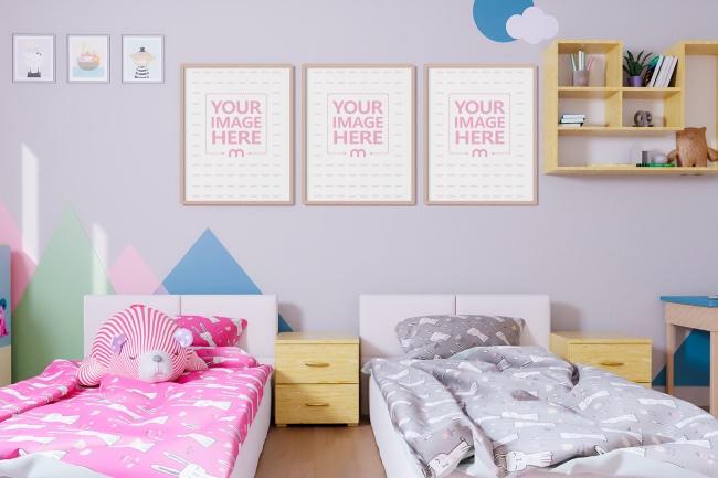 Three Canvases at a Kid's Bedroom Mockup