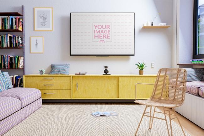 TV Mockup at a Living Room Scene