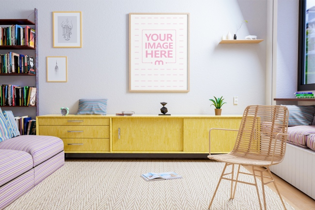 Portrait Canvas Mockup at a Living Room Scene preview image
