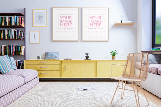 Two Canvases Mockup at a Living Room Scene preview image