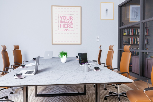 Portrait Canvas Mockup at an Office Room preview image