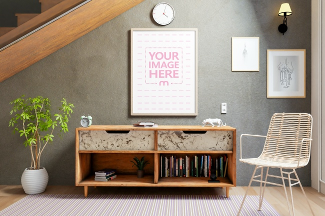 Portrait Canvas Mockup at a Living Room preview image