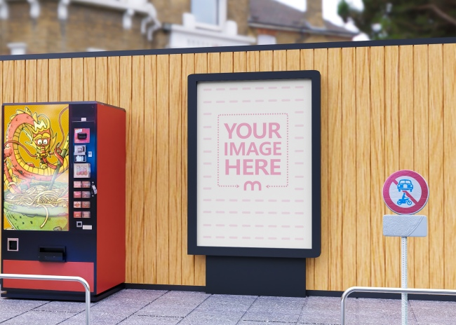 Rectangle Road Sign Mockup Close to a Vending Machine preview image
