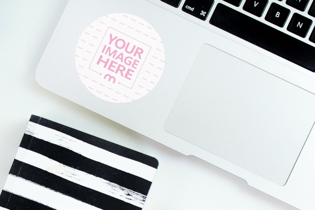 Round Sticker Mockup on Laptop with Notebook