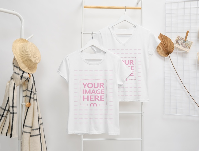 Two Shirts Mockup Hanging on an Iron Ladder preview image