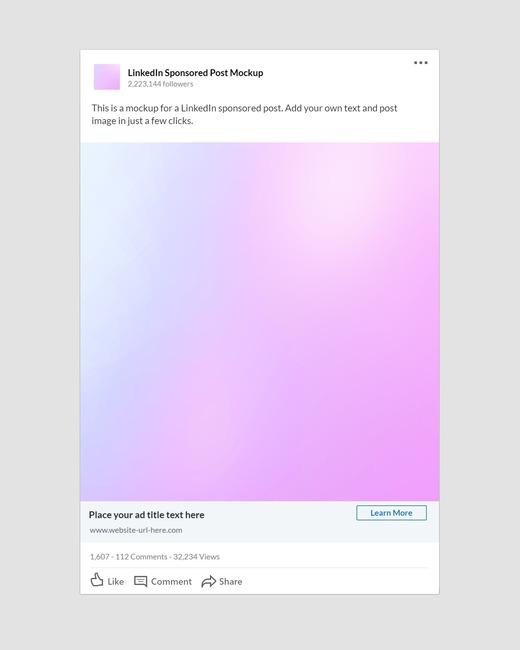 LinkedIn Sponsored Post Mockup (Square Image)